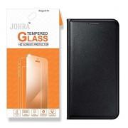 Johra For Vivo V5 Flip Cover, Premium HD+ Tempered Glass Screen Combo Black Leather Flip Case Cover for Vivo V5 Tempered Glass