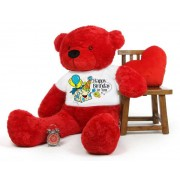 Red 5 feet Big Teddy Bear wearing a Happy Birthday To You T-shirt