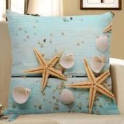 rosegal Starfish Sea Shell Print Decorative Linen Pillow Case