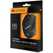 Myš Canyon CNE-CMSW3, Wireless optická, USB, 800/1280 dpi, 4 tlač, V-Dizajn, Power Saving, čierna