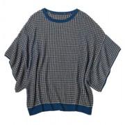 【L-3L】編み柄ポンチョ風ニット プルオーバー