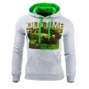 Pánská bavlněná mikina s kapucí a potiskem šedá - XL