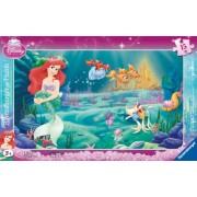 Ravensburger - 06031 - Puzzle Enfant avec cadre - Princesses Disney - Le Monde d'Ariel - Cadre - 15 Pièces