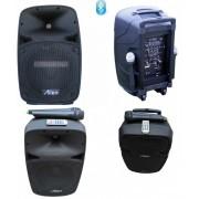 Преносима Професионална Караоке Тонколона 12 инча Alien 2112AUS-CB с Вграден Усилвател, акумулаторна батерия, два микрофона, Bluetooth, 150W