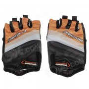 Mad Bike SK-02 Anti-Slip Half-Finger Bicycle Riding Cycling Gloves - Orange + Black + White (Size L)