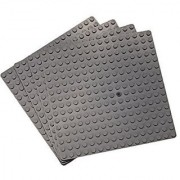 Premium Dark Gray 5 X 5 Construction Base Plates - 4 Pack Bundle - (Lego Compatible)
