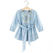 GearBest Breathable Round Neck Long Sleeve Embroidered Girls Denim Dress