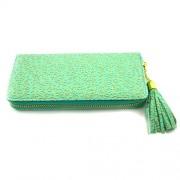 Portofel elegant pentru femei verde cu fermoar auriu