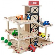 Downtown Deluxe Wooden Parking Garage with Elevator - Cars and More Included! (19 pcs.) by Imagination Generation