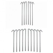 Set of 16 pcs 9.5 Outdoor Camping Trip Hiking - Round Tent Pegs Stakes Nail Silver Hook
