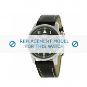 Cerruti (vervangend model) horlogeband Terra - CRA081A222G Leder Zwart 22mm + wit stiksel