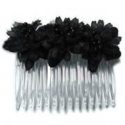 Peineta con flores en color negro