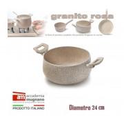 Casseruola alluminio 24 cm doppio manico Natural Stone effetto pietra Accademia Mugnano Linea GRANITO ROSA