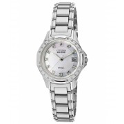 Citizen Watches Silhouette Diamond Stainless Steel Mother of Pearl Dial SS - CIT-EW2130-51D Mother of PearlSilver-Tone