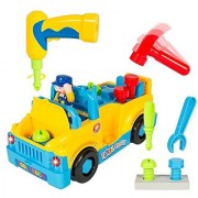 Fun Building Multifunctional Take Apart Toy Tool Truck with Electric Drill and Tools