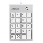 Perixx PERIPAD-202HW, Numeric Keypad for Laptop - USB - Built-in 2xUSB Hub - Tab Key Feature - Full Size 19 Keys - Big Print Letters - Silent X Type Scissor Keys - White