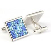 Mousie Bean Crystal Cufflinks Multi Square 096 Blue
