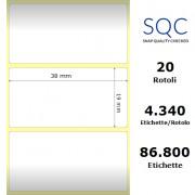 Etichette SQC - polipropilene trasparente (bobina), formato 38 x 19