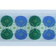 Vzorovka šírka 2,5cm vyšívaná zeleno modrá