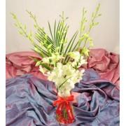 Vaza cu orhidee dendrobium alba