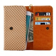 5 inch Universal Pearl Grid Texture Leather Case with Wallet & Card Slots & Lanyard for iPhone 6 & 6S / 5S / 5C Samsung Galaxy E5 / A5 / J5(Coffee)