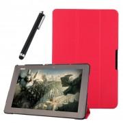Funda Protector de Piel Cuero con Soporte Funda Protector Carcasa Para Asus Transformer Book T100 Chi Tablet 10.1 inch Rosy