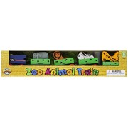Adventure Planet Wooden Zoo Train Set with 4 Animals, 5-Piece