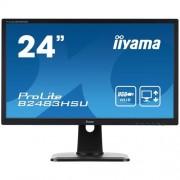 Monitor iiyama B2483HSU-B1DP, 24'', LCD, 2ms, 250cd/m2, 1000:1, FullHD, VGA, DVI, DP, 3xUSB, pivot, výšk.nastav.