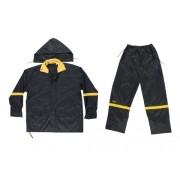 Custom Leathercraft Rain Wear R103 - Traje impermeable de 3 piezas (nailon), color negro