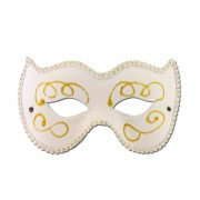 Womans Masquerade Mask White Trimmed With Gold Design
