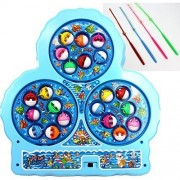 Kids Mandi™ Go Fishing Game Battery Operated Toy For Kids With 21 Colorful Fishes and 4 Fishing Rods
