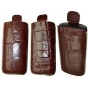 Suncase Étui en cuir pour Nokia C2-01 Croco marron (Import Allemagne)