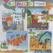 4x puzzle Car, train, plane, wagon()