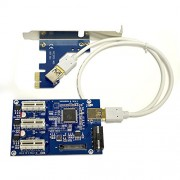 PCI-E 1X 1 to 3 Port 1X Switch Multiplier Expander HUB Riser Expansion Card + USB Cable