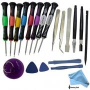 Set de herramientas 16 en 1 para reparación de teléfonos móviles, kit de destornilladores compatibles con HTC, iPhone 6 , 6s Plus 5 4S 4, iPad, Blackberry, Samsung