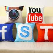 Cool Social Media Logo Pillows For Your Home Car Room Bed Sofa Whatsapp Twitter Wechat FacebookYoutube (Facebook Pillow)
