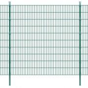 vidaXL Pannelli per recinzione da giardino con pali 2008x2030 mm 10 m Verdi