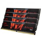 Memorie G.Skill Aegis 16GB (4x4GB) DDR4 2400MHz CL15 1.2V, Dual Channel, Quad Kit, F4-2400C15Q-16GIS