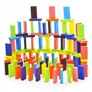 HLJgift 240pcs Dominos Set Wooden Block Game Machine Domino Blocks Set Racing Toy Game Building and Stacking Toy Blocks