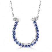 Sapphire & Diamond Horseshoe Pendant Necklace 14k White Gold (0.25ct)