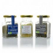 Lot de 3 sels de Guérande BIO (Thym, Mélange spécial poissons, Safran) 3x100g