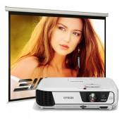 Pachet Videoproiector Epson EB-S04 Ecran de proiectie manual Blackmount 200x200cm
