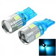Azul del hielo del bulbo del coche LED de T10 1W 490nm 45lm - azul claro + plata (2PCS)