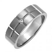 Theia Bague Titane Ronde Diamant Transparent Unisexe - Taille 70 (22.3)