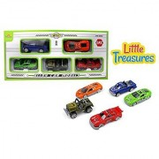 Die-cast model cars play toy - set of 5 vehicles a pick up truck sports car drag racing car jeep and a sleek looking race car