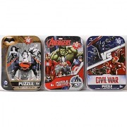 3 Mini Puzzles in Tin Cases Bundle: Captain America Civil War & Avengers & Batman vs. Superman (with Wonder Woman) Marvel & DC Comics