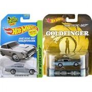 Goldfinger 007 Aston Martin Set Retro Entertainment Hot Wheels Mainline Series Silver DB5 #200