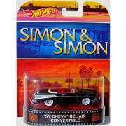 57 CHEVY BEL AIR CONVERIBLE Simon & Simon Hot Wheels 2014 Retro Series 1:64 Scale Collectible Die Cast Metal Toy Car M