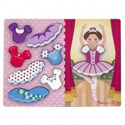 Melissa & Doug Ballerina Dress-Up Wooden Chunky Puzzle (9 pcs)