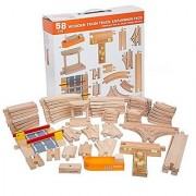 58 Piece Wooden Train Track Expansion Pack Featuring Container Ship Ship Dock Train Station Rail Road Crossing Compatible with Thomas Wooden Railway Brio Chuggington Melissa & Doug Imaginarium Set by Orbrium Toys